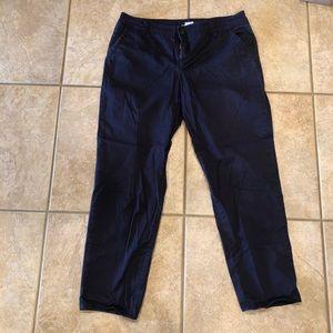 Navy Chino Style Capri Pants